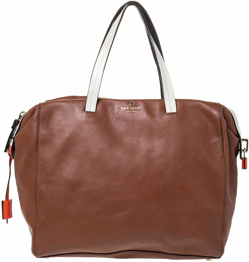 Kate Spade Brown/White Leather Weekender Bag