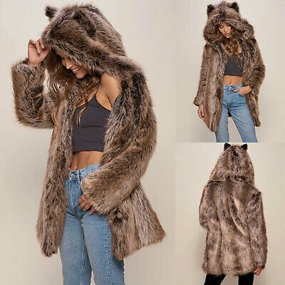 Winter Elegant Jacket Coat Thick Hooded Faux Fur Long Overcoat Cute Animal Ear
