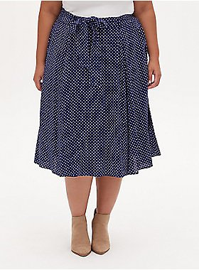 65% OFF | Navy Ditsy Heart Challis Self Tie Midi Skirt