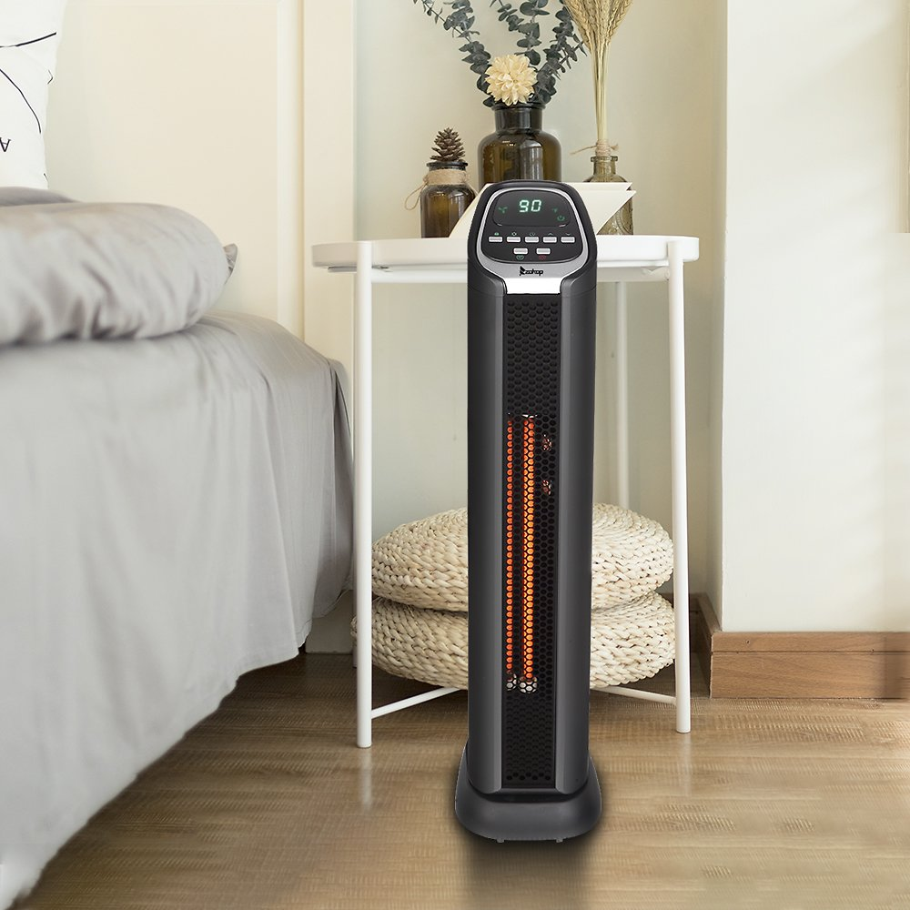 Space Heater, 1500W Internal Oscillating Instant Heating Electric Heater, Portable Tower Heater with Thermostat, 24Hr Programmab