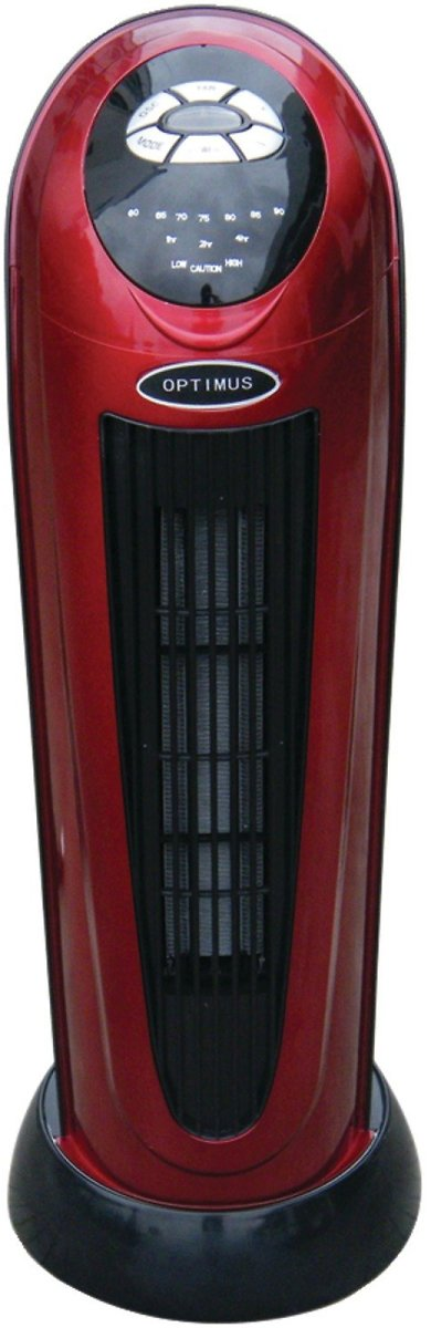 Optimus H-7328 Portable 22-Inch Oscillating Tower Heater with Digital Temperature Readout and Remote Control
