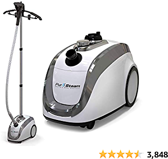 PurSteam -2020 Official Partner of Fashion-Full Size Steamer for Clothes, Garments, Fabric-Professional Heavy Duty - 4 Steam Levels, Perfect Continuous Steam