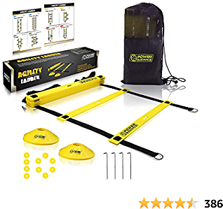 POWER GUIDANCE Agility Ladder (20 Feet) for Speed Agility Trainning & Quick Footwork Exercise - with 12 Plastic Rungs, 4 Pegs, Carry Bag & 10 Sports Cones