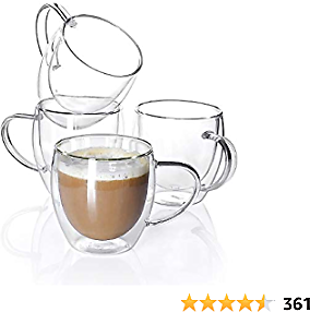 Sweese Glass Coffee Mugs for Espresso, Latte, Cappuccino, 8 Oz - 4 Pack