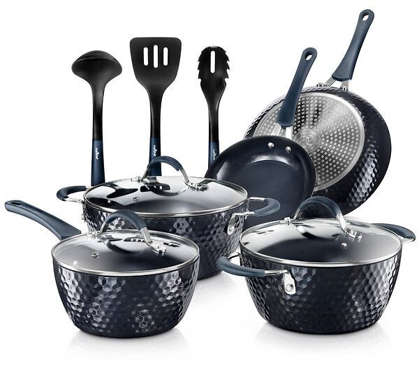 NutriChef Excilon 11 Piece Aluminum Non Stick Cookware Set