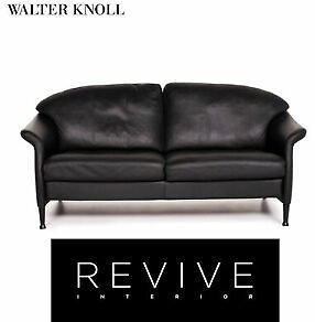 Walter Knoll Leather Sofa Black Two Seater Couch #13924