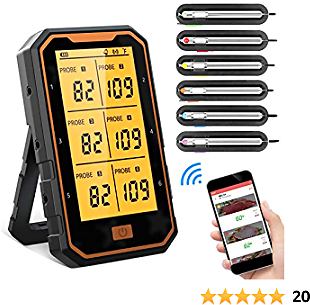BOYON Meat Thermometer, Rechargeable Bluetooth Grilling Thermometer with 6 Probes, Cooking Thermometer for Smoker Gill BBQ Kitchen Oven Support IOS & Android