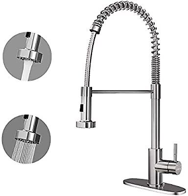 CORYSEL Kitchen Faucet Single Handle High Arc Brushed Nickel Single Lever Pull Down Sprayer Spring Kitchen Sink Faucet, Kitchen