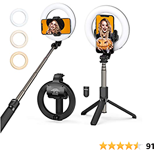 LED Ring Light with Tripod Stand & Phone Holder & Bluetooth Remote, Mpow Rechargeable Dimmable Selfie Ring Light for Live Streaming & Makeup, YouTube Video, Photography, Compatible with IOS/Android