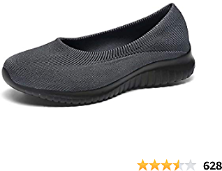 Konhill Women's Slip On Flat-Comfy Walking Nurse Shoes