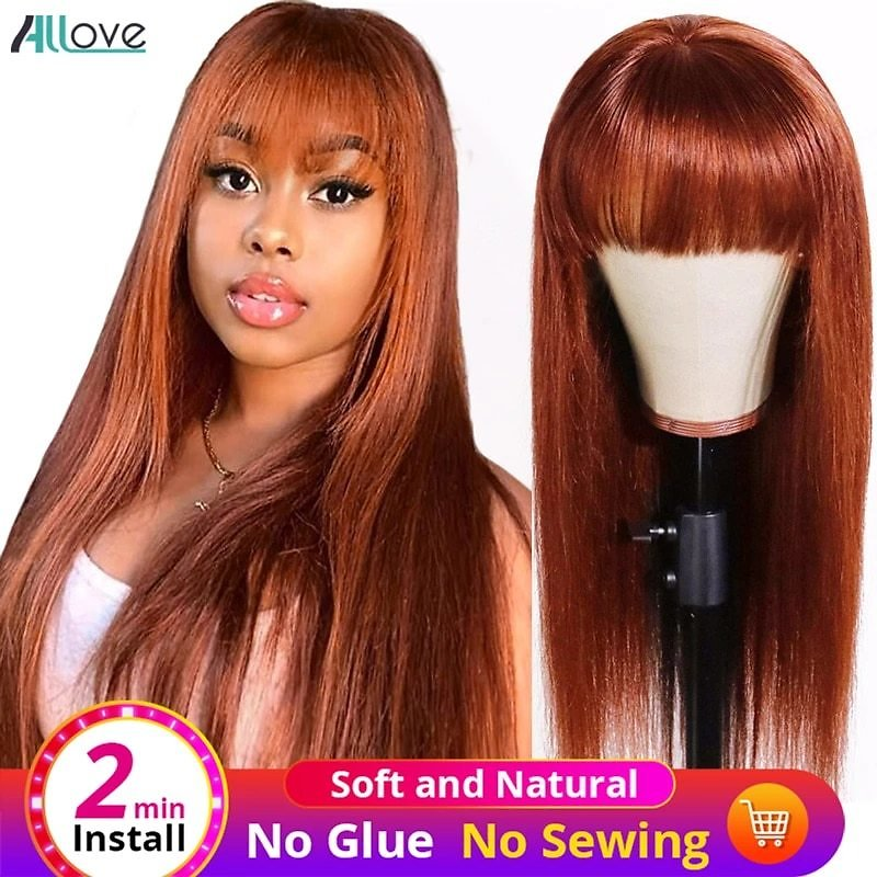 Ginger Wig With Bangs Colored Human Hair Wigs With Bangs Machine P4/27 Highlight Wig Brazilian Burgundy Human Hair Wig