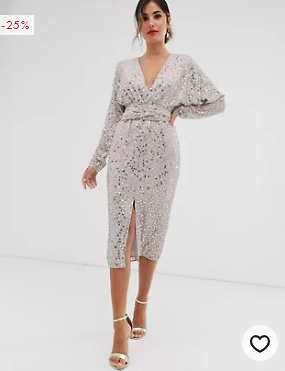 ASOS DESIGN Midi Dress with Batwing Sleeve and Wrap Waist in Scatter Sequin | ASOS