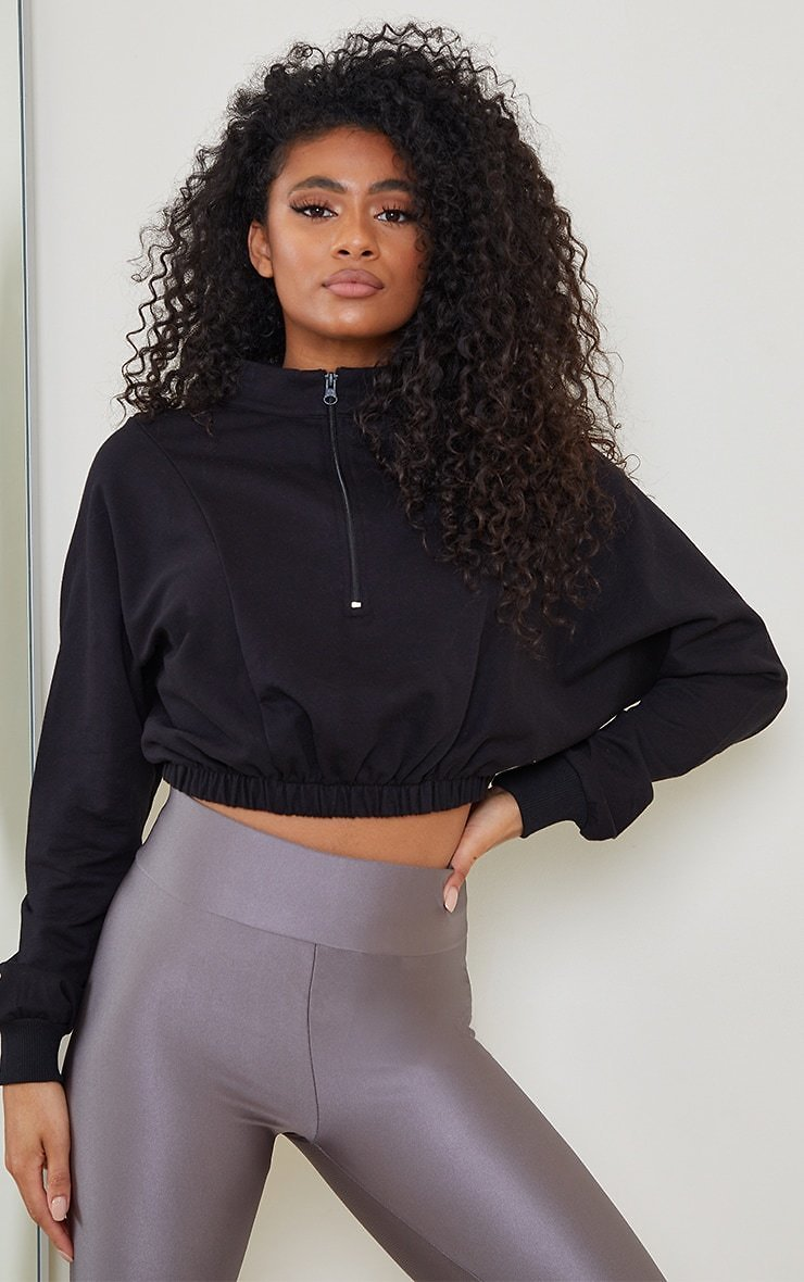 Black Cropped Zip Up Sports Sweater