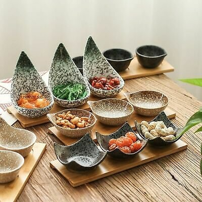 Creative Ceramic Fruit Platters Japanese Sauce Dish Tableware With Wooden Tray