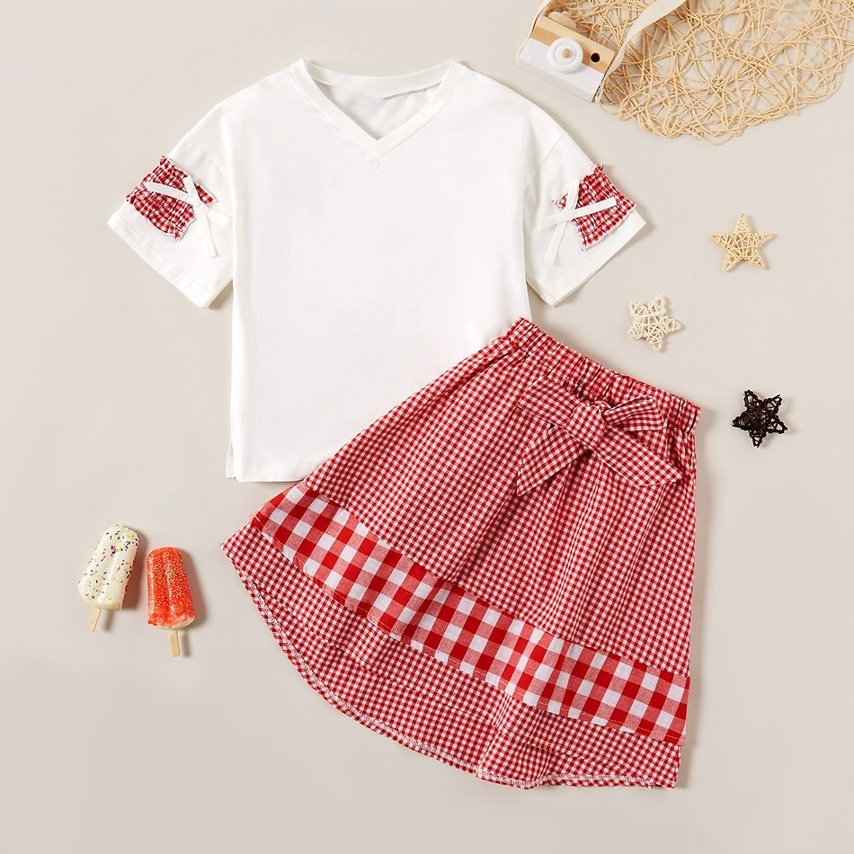 2-piece Sweet Top and Plaid Skirt Set
