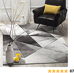 Safavieh Porcello Collection PRL6939D Modern Abstract Geometric Art Light Grey and Charcoal Area Rug (5' X 8')
