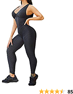 SEASUM Women Yoga Jumpsuit Backless One Piece Workout Catsuit Bodysuit Sleeveless Textured Gym Bodycon Romper