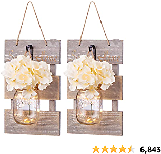 Mason Jar Wall Sconce Décor - Rustic Grey Home Decoration Wall LED Farmhouse Decoration for Living Room Bedroom Silk Hydrangea Flowers and Ecorative Hooks Farmhouse Kitchen 6 Hours Timer Set of 2