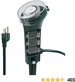 BN-LINK Outdoor Power Strip with Programmable Mechanical Timer and Yard Stake, 6 Grounded Outlets - 6 Ft Cord, Weatherproof for Outdoor Lamps Lights Ponds Christmas Lights 1875W/15A ETL Listed