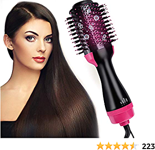 Hair Dryer Brush And Styler, Blow Dryer Brush 3-IN-1 for Fast Drying Straightening, Negative Ion Ceramic Electric Blowing Hair Brush Comb, Reduce Frizz and Static for All Hair Types (Curly Hair)