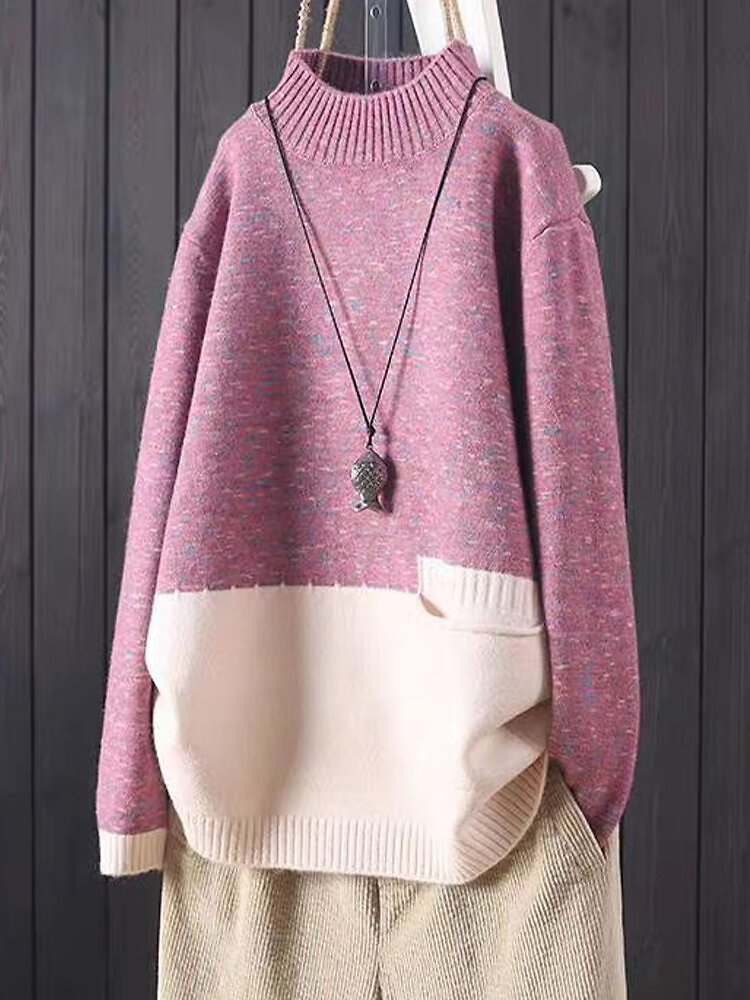 Patched Print Pullover Pocket Long Sleeve Knit Sweater