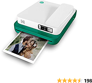 KODAK Smile Classic Digital Instant Camera for 3.5 X 4.25 Zink Photo Paper - Bluetooth, 16MP Pictures (Green) Sticker Frames Edition