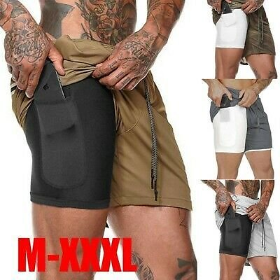 Mens Joggers Fitness Outdoor Running Shorts 2 In 1 Training Shorts Gym Pants