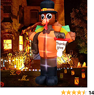 TURNMEON 10Ft High Thanksgiving Inflatable Blow Up Turkey Holding Thanks Give Flag LED Lights with Tethers Stakes Autumn Harvest Fall Thanksgiving Decorations for Home Outdoor Indoor Yard Lawn Garden