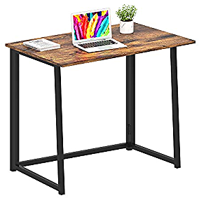 GHQME Folding Desk,Laptop Desk Home Office Desk Study Writing Desk No-Assembly Small Space (Fire Board)
