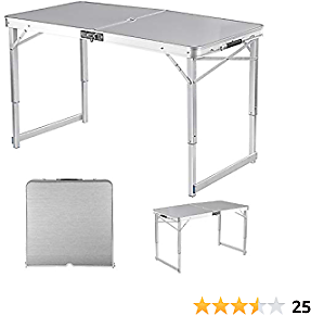 Adalantic 4-person Picnic Folding Table, Height Adjustable, Portable Aluminum Camping Table Indoor Outdoor Suitcase Table