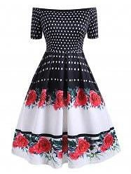 Plus Size Polka Dot Flower Off Shoulder Vintage Dress - L