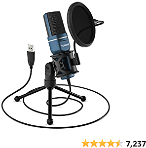 USB Top Microphone, TONOR Computer Condenser PC Gaming Mic with Tripod Stand & Pop Filter for Streaming