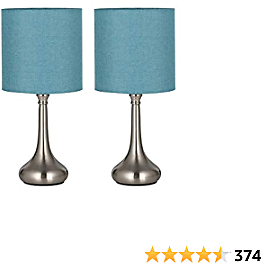 HAITRAL Modern Table Lamps - Bedside Desk Lamps, Unique Nightstand Lamps with Fabric Lamp Shade and Metal Base for Bedroom, Living Room, Office, College Dorm, Den - Light Blue (HT-BTL07-2BU)
