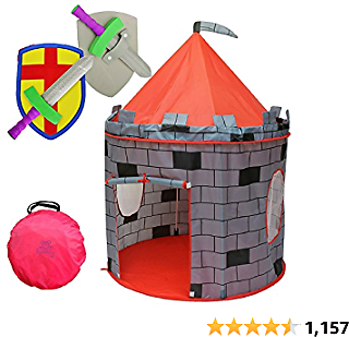 "Kiddey Knight's Castle Kids Play Tent -Indoor & Outdoor Children's Playhouse - Durable & Portable with Free Carrying Bag – ""Bonus"" Shield and Sword Set - Makes for Boys & Girls"