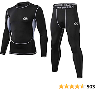 MeetHoo Men's Thermal Underwear Set, Compression Base Layer Sports Long Johns Fleece Lined Winter Gear Running Skiing