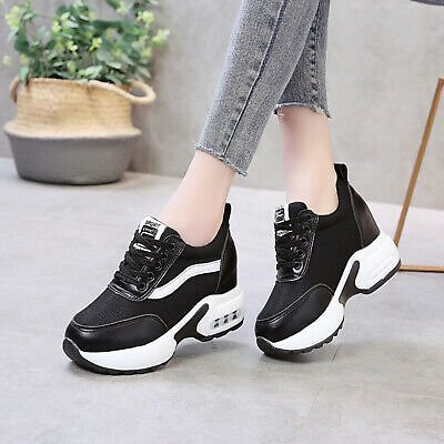 Women's Wedge Sneakers Lace Up Gym Athletic Jogging Platform Breathable Shoes