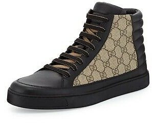 **New** Gucci High Top Leather GG Black And Brown Supreme Canvas Authentic Shoes