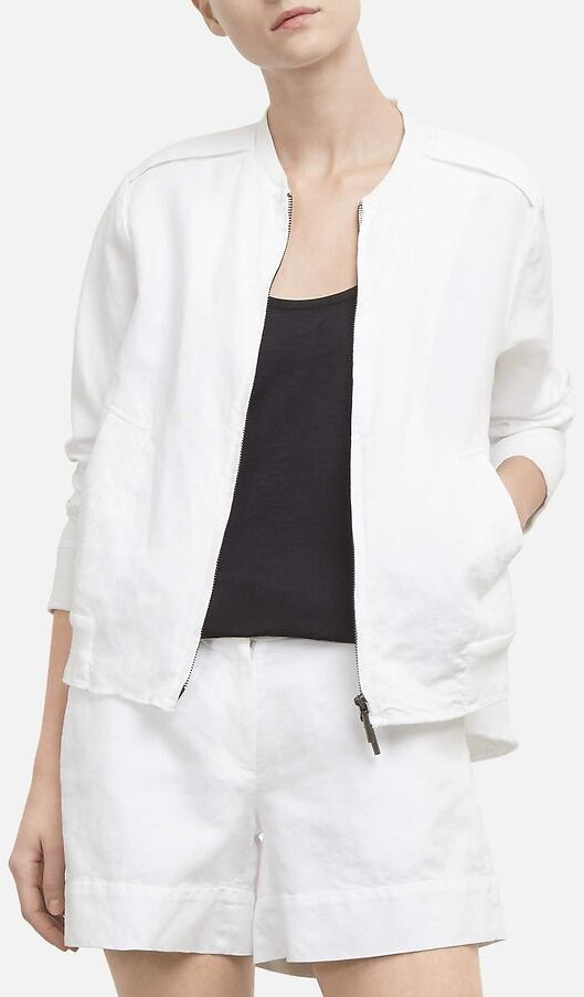 Woven Bomber Jacket with Strap Sleeve Detail