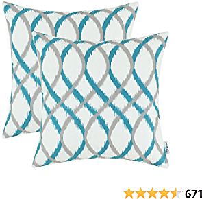 Save 50% CaliTime Pack of 2 Cozy Fleece Throw Pillow Cases Covers for Couch Bed Sofa Modern Two-Tone Waves Geometric