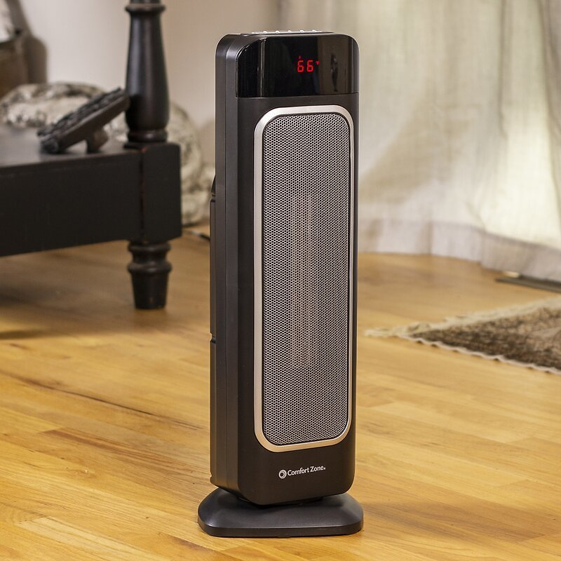 Comfort Zone 1,500 Watt Electric Fan Tower Heater with Remote