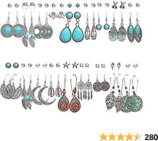 36 Pairs Fashion Vintage Simulated Turquoise Drop Dangle Earrings Set for Women Girls Boho Hollow Waterdrop Leave Feather Silver Jewelry for Gifts