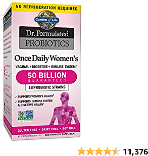 Garden of Life Dr. Formulated Probiotics for Women, Once Daily Women's Probiotics 50 Billion CFU Guaranteed and Prebiotic Fiber, Shelf Stable One a Day Probiotic No Gluten Dairy or Soy, 30 Capsules