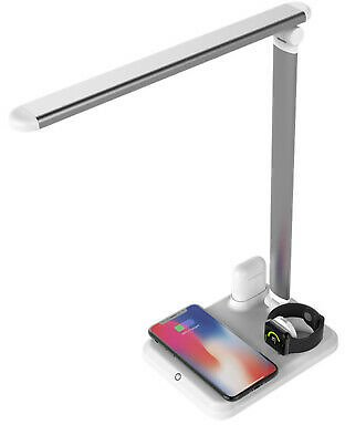 USB Charge LED Desk Table Lamp + QI Wireless Phone Charger Reading Study