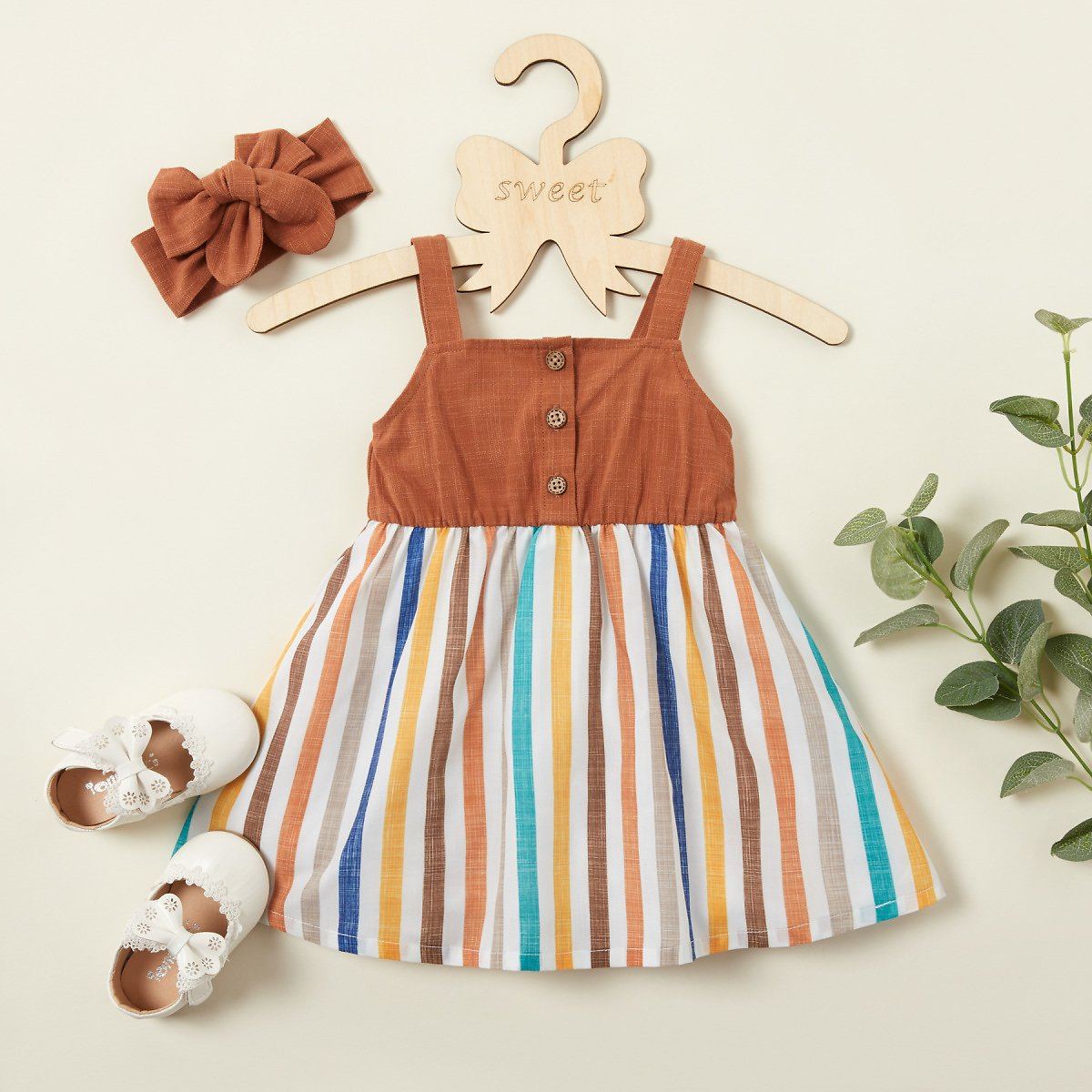 Baby Girl Cute Striped Print Strappy Dress with Headband
