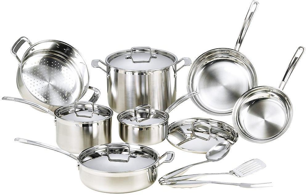 Mockins 15-Piece Premium Grade Stainless Steel Cookware Set with Lids