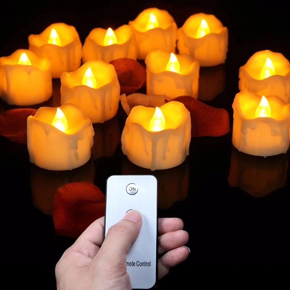 Pack of 12 Remote or Not Remote New Year Candles,Battery Powered Led Tea Lights,Tealights Fake Led Candle