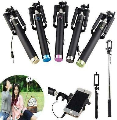 Extendable Wired Monopod Stick Phone Holder Remote Shutter Monopod for Lphon