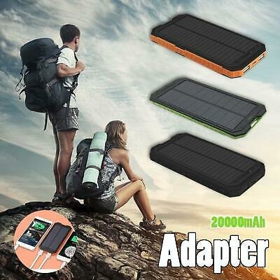200000mAh Portable Mobile Solar Power Bank Dual USB Charger Outdoor Waterproof