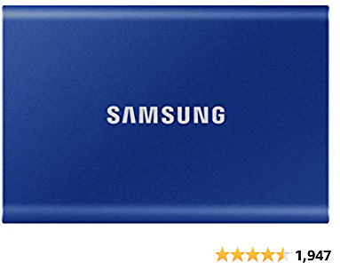 SAMSUNG T7 Portable SSD 2TB - Up to 1050MB/s - USB 3.2 External Solid State Drive, Blue (MU-PC2T0H/AM)
