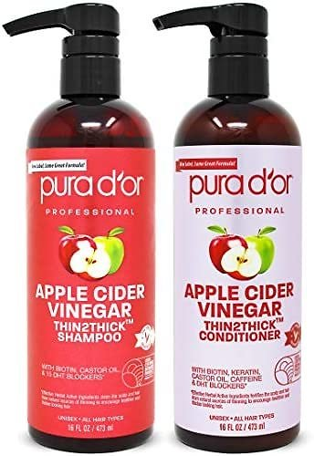 PURA D'OR Apple Cider Vinegar Thin2Thick Set Shampoo Conditioner for Regrowth, Hair Loss, Clarifying
